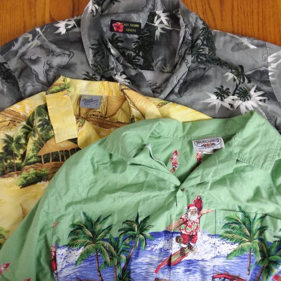 Various Other - Surfing Santa Hawaiian Camp Shirt Lot of 3